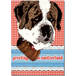 "Postkarte ""Greetings from Switzerland"" Bernhardiner"