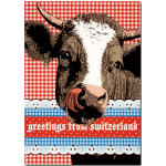 "Postkarte ""Greetings from Switzerland"" Kuh"