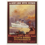 "Historisches Schiffsplakat ""City of Benares/Ellerman's City & Hall Lines"""